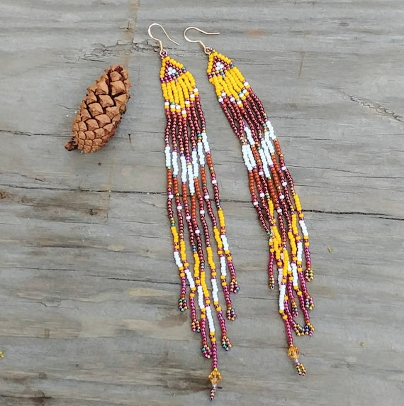 Yellow and Copper Beaded Earrings