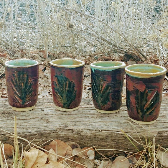 Rustic Textured Pottery Tumblers