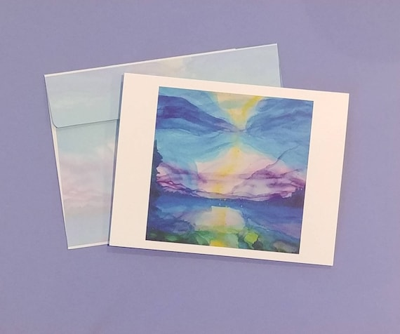 Note Cards with Lake Tahoe Watercolor Image