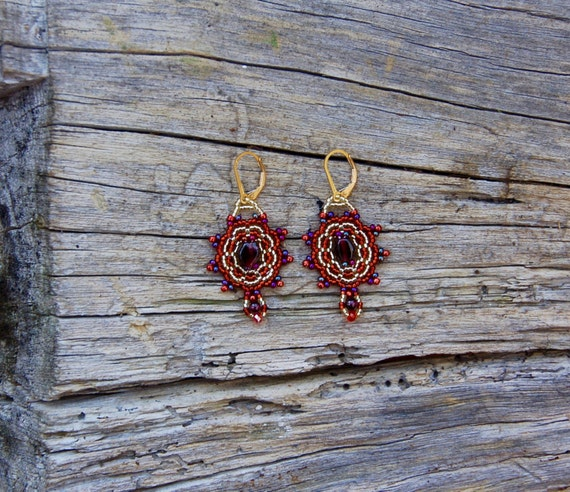 Garnet and Gold Earrings Lacey Earrings