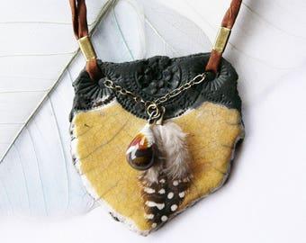 "Necklace raku ""Les Minoennes"" - Earth ancient - ceramicdonuts, unique piece of designer."