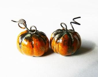 Charms glazed raku ceramic pumpkins, orange and green raku miniatures, vegetable charms, handmade, handcrafted, halloween, unique