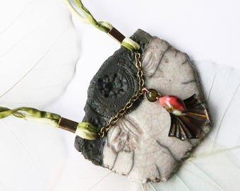 Necklace raku 'Les Minoennes' - Tulip Atlantean - ceramicdonuts, unique piece of designer.