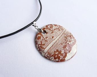 "Locket necklace ceramic scenery ""Duo lace"", vintage ceramic handmade"