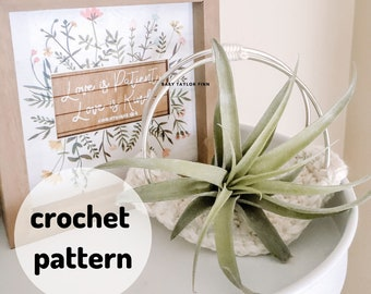 Plant Hammock Pattern, Air Plant Display, Crochet Plant Hanger