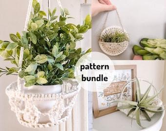PATTERN BUNDLE* Diamond Plant Hanger, Crochet Plant Pocket, and Crochet Plant Hammock