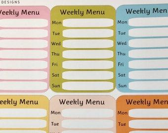 Weekly Menu Boxes for Erin Condren Vertical Life Planner