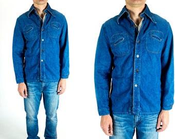 Vintage 1970s Medium Wash Denim Slim Fit Western Wear Button Down Shirt Size L Large