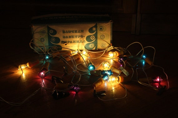 vintage soviet ussr russian christmas tree lights garland etsy