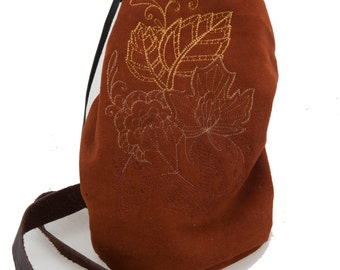 Brown leather bag autumn leaves embroidery fall bohemian fashion drawstring bucket bag duffel indie couture boho shoulder romantic warcraft