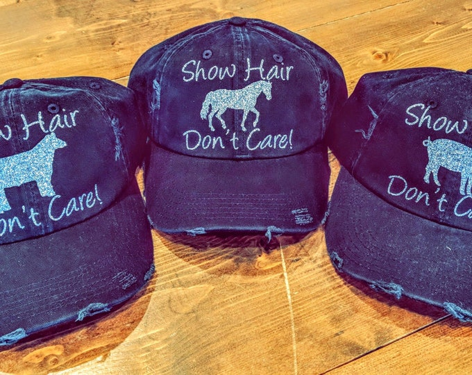 Show Hair Don't Care! - Glitter Baseball Cap