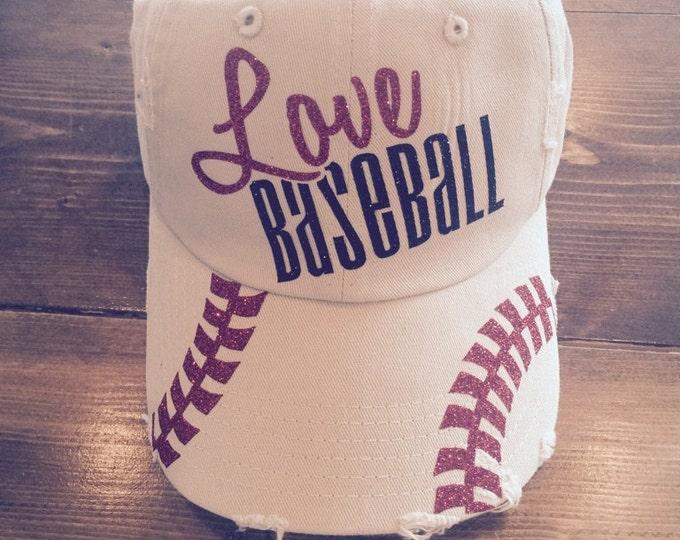 Love Baseball - Glitter Baseball Cap