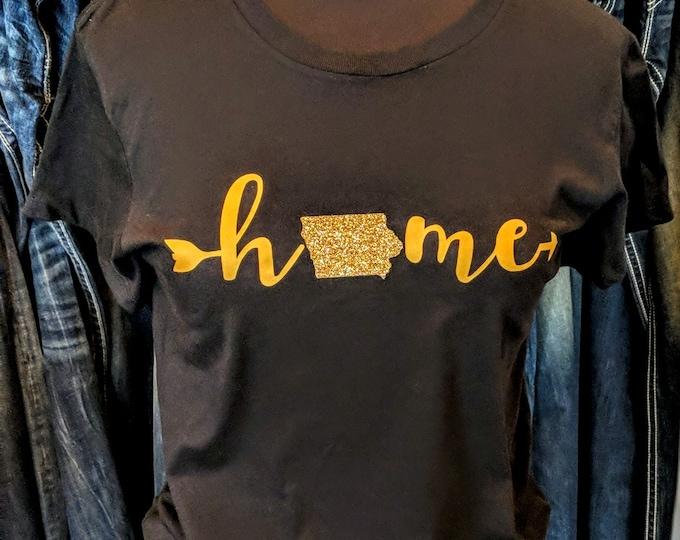 Iowa Home Arrow - Glitter T-Shirt