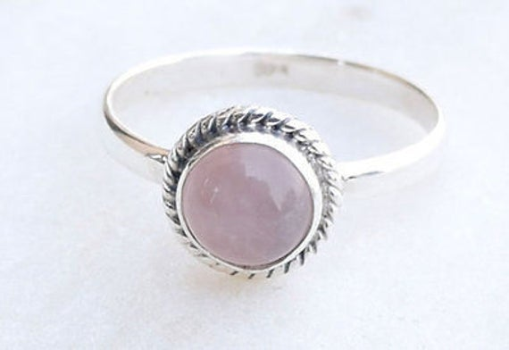 Rose Quartz Silver Ring 925 Solid Sterling Silver Handmade Jewelry US-ROSE-05