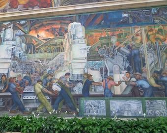 Diego Rivera mural, Detroit Institute of Arts, Workers, Detroit industry, Detroit print, Detroit art, Art print, Art Gift, Gift