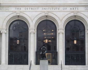 Detroit Institute of Arts, Detroit print, The Thinker, Architecture, Detroit art, History Pictures, History Art, Detroit Print, Gift
