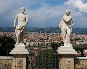 Photograph of ancient Italian Statues in Bardini Gardens of Florence, Italy, Florence skyline, Florence print, Tuscany print, Italy print