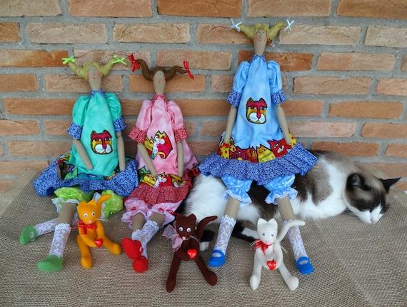Toy cloth Soft toy cat Tilda cat Rag toy cat Toy handmade Toy cat Interior toy Toy decor Children/'s room decor Gift toy cat Toy souvenir