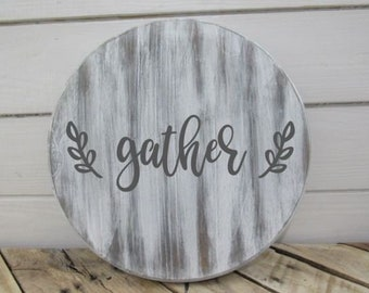 Farmhouse Gather Round the Table Lazy Susan Serving Tray Turntable