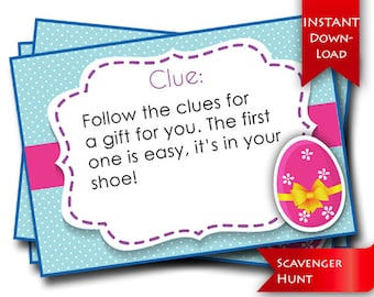 Birthday Scavenger Hunt Game Rhyming Clues And