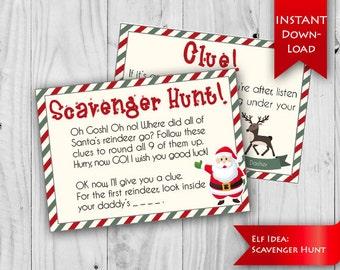 elf idea scavenger hunt find santas reindeer christmas elf ideas christmas scavenger hunt instant download - Christmas Elf Games