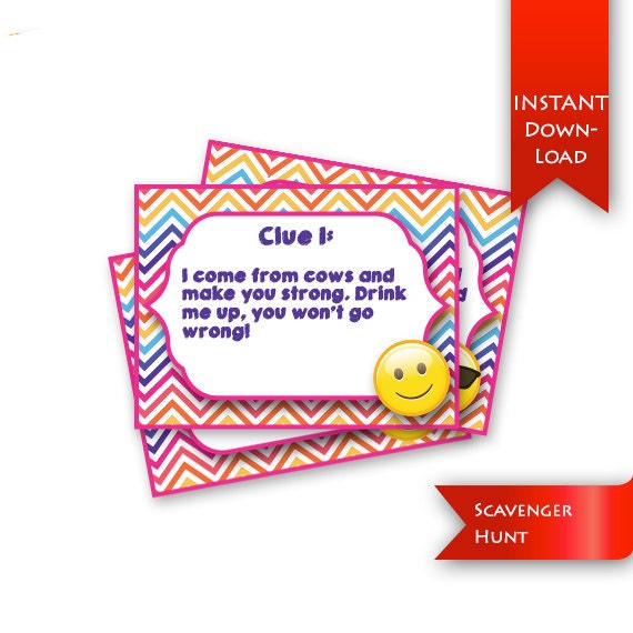 Emoji Scavenger Hunt Birthday Party Game Rhyming Clues And