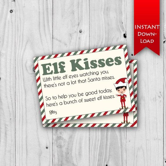 Elf Kisses   Elf Note   Elf Ideas   Elf Printables, Editable to add elf  name{instant download}