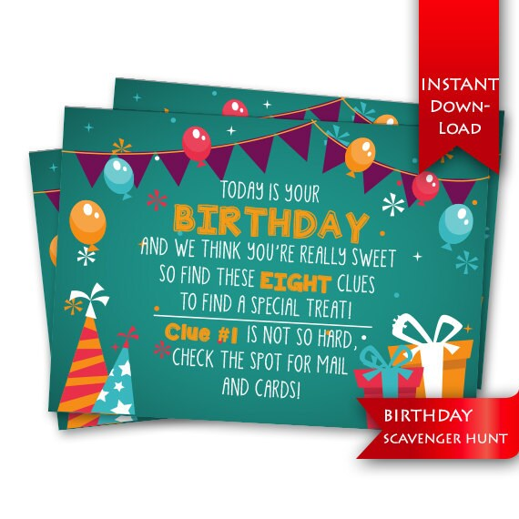 Birthday Scavenger Hunt Birthday Game Rhyming Clues And