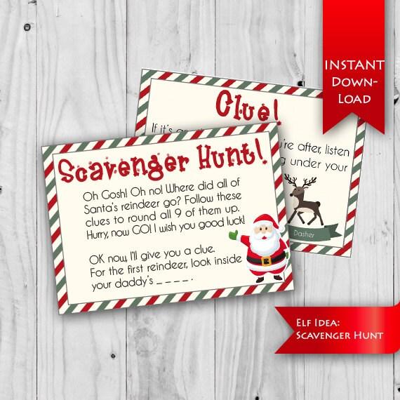 On Sale Elf Idea Scavenger Hunt Find Santa S Etsy