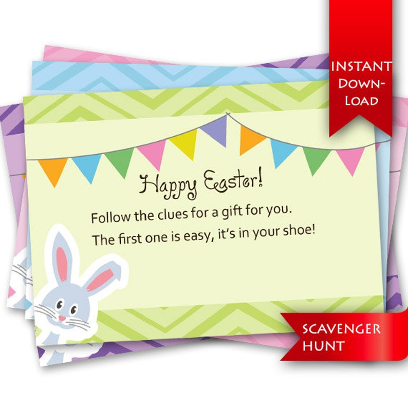 Easter Scavenger Hunt On Sale Rhyming clues and blank template to addedit your own clues {instant download}