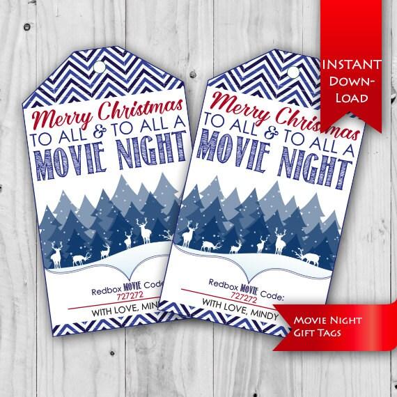 Movie Night Tag Christmas Gift Idea Teacher/Neighbor | Etsy