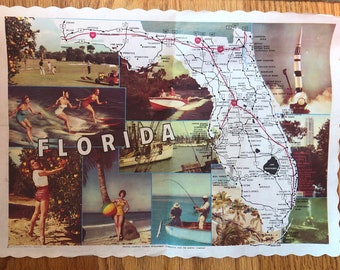 12 x 16 each Florida gift; Florida placemats; Scallop shell placemats; Crystal River Florida; nautical Chart item;  set of 4