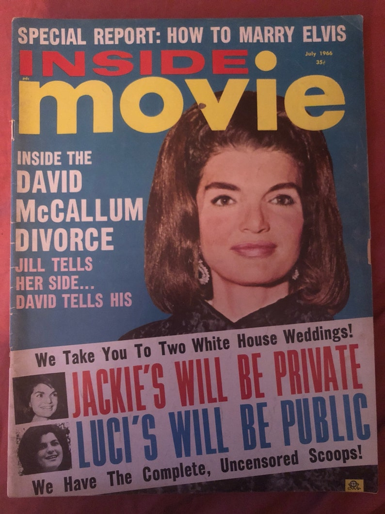 Vintage Inside Movie magazine Elvis Jackie O Kennedy July 1966 Liz Taylor  memorabilia