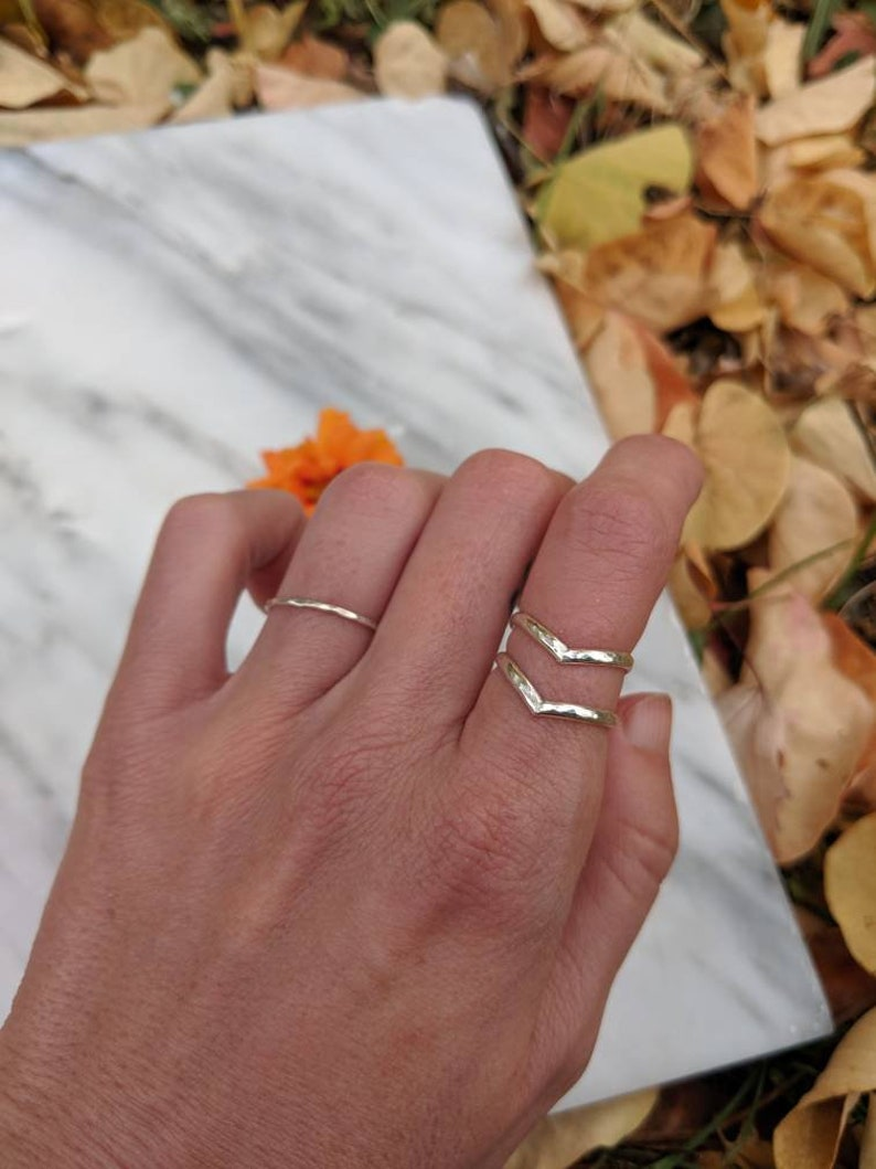 sterling silver gifts for her handmade 2 Stackable rings arrow point rings woman hammered