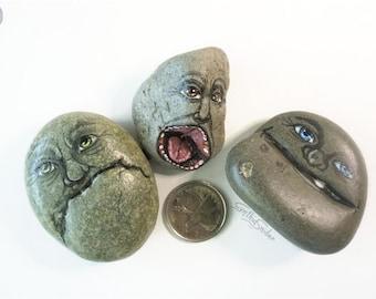 Creepy faces stone set, funny rock faces, creepy rock heads, wierd stone trio, set of three head rocks, garden decor, hand painted stones