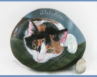 Custom pet portrait, painted rock, cat portrait, cat memorial painting, memorial rock, pet memorial, painted rock, personalized pet portrait