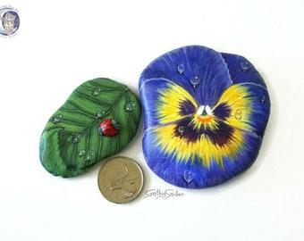 Pansy painted rock, leaf stone with ladybug, purple pansy painted stone, ladybug leaf rock, painted rock set , flower with leaf painted rock