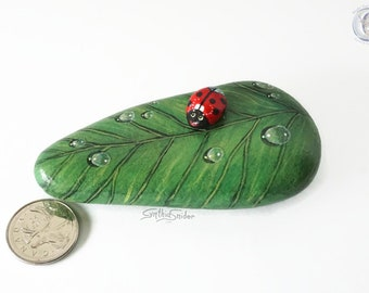 Painted rock, painted stone, leaf painted rock, leaf with ladybug, green stone leaf , ladybug on leaf, teacher gift, garden decor, red bug