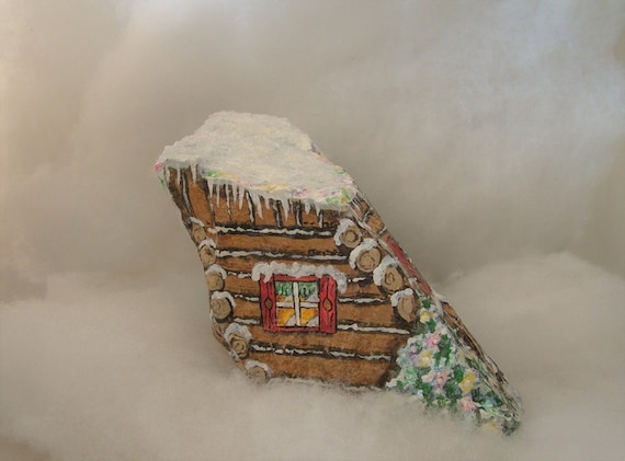 Christmas Rock Painting Images.Painted Rock Painted Stone Christmas Rock Holiday Decor Christmas Decor Christmas House Festive House Christmas Stone Log Cabin