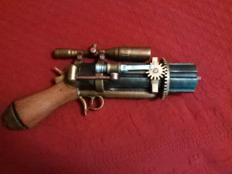 Steampunk Semi-Automatic Pepperbox Revolver Prop