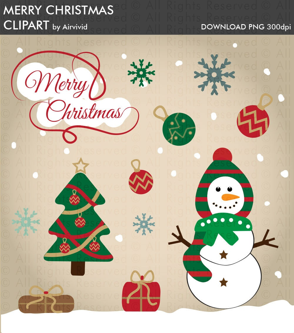 Weihnachten Clipart Frohe Weihnachten Schneemann Clipart   Etsy