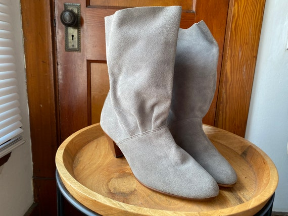 1980's Gray Suede Boots - image 3