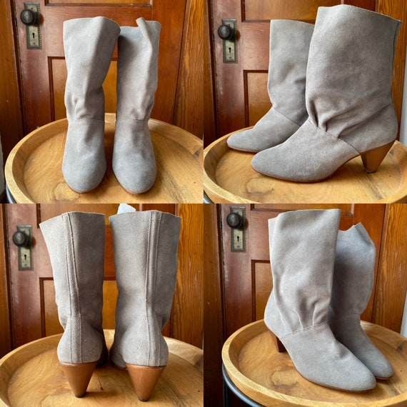 1980's Gray Suede Boots - image 2