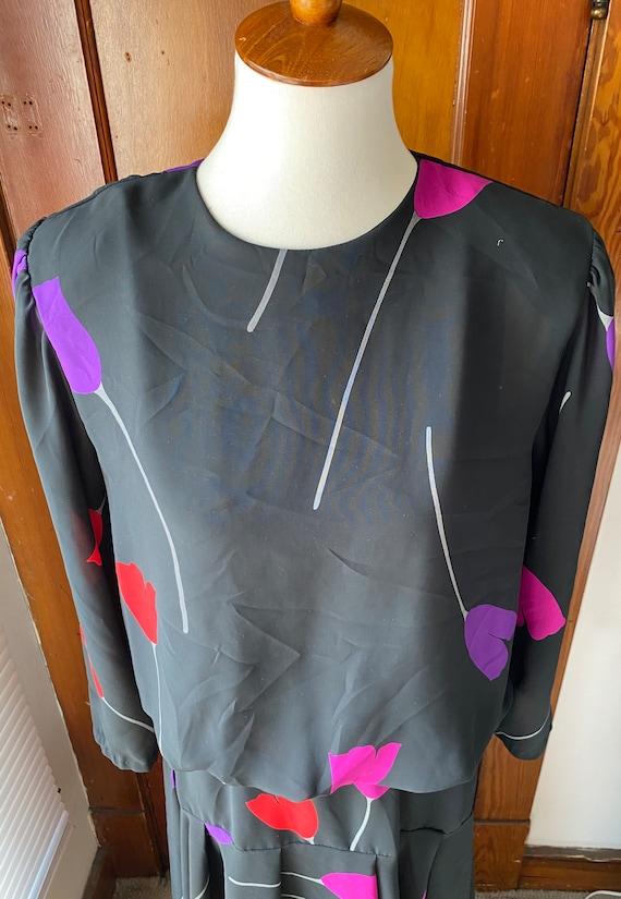 1980's Tulip Print Drop Waist Dress - image 4