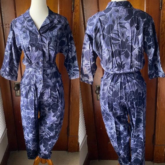 80's Purple Tropical Print Jumpsuit