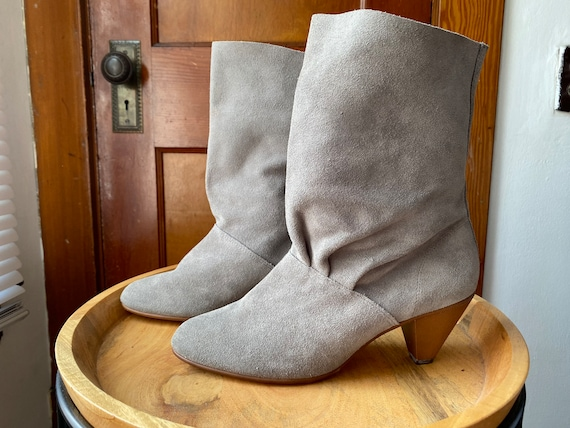 1980's Gray Suede Boots - image 1