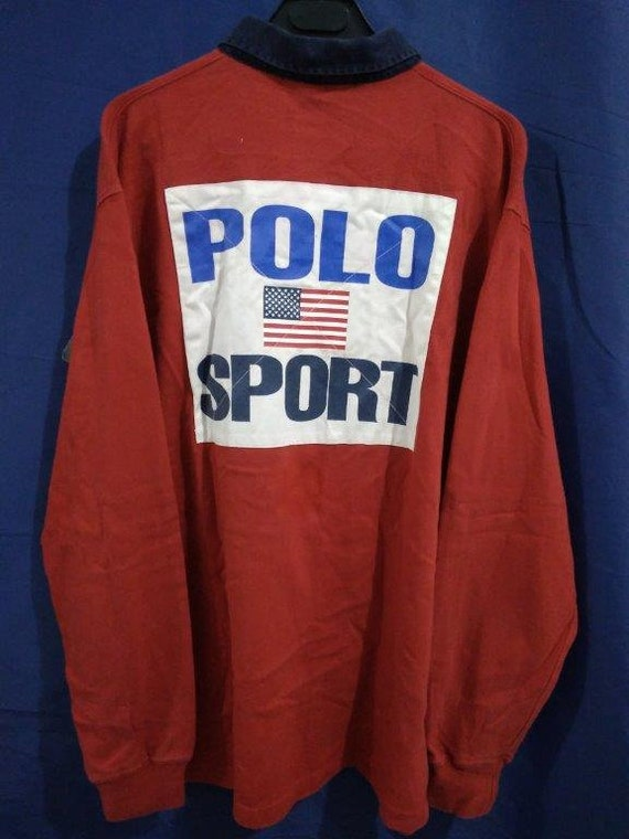 Vintage Polo Sport Big Logo USA Flag Polo Ralph La