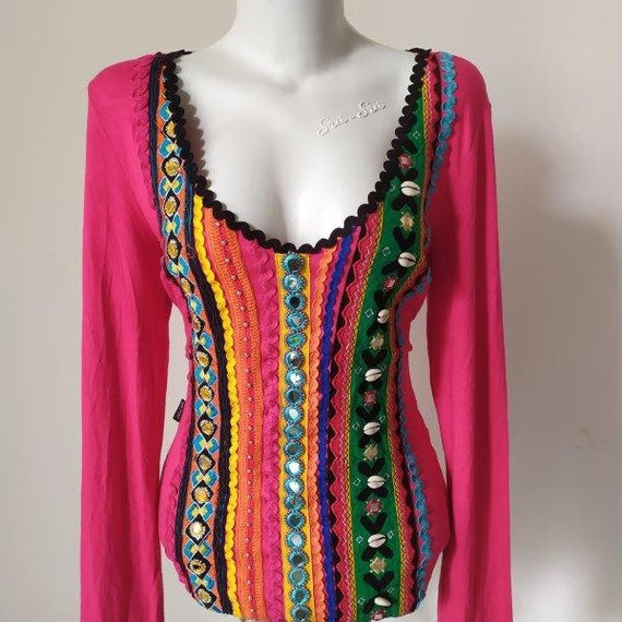 Vintage Moschino Hippie Pink Women Shirt Size 40