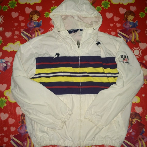 vintage polo sport jacket polo 1992 polo usa strip