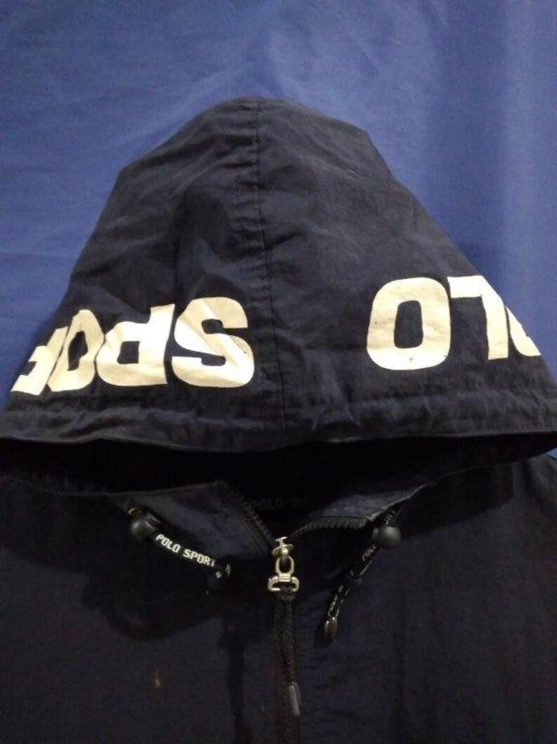 Vintage Polo Sport Black Nylon Hoodie Jacket Size L
